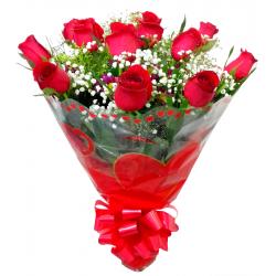 Buquê Tradicional c/ 12 Rosas