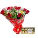 Buquê c/ 12 Rosas + Ferrero Rocher